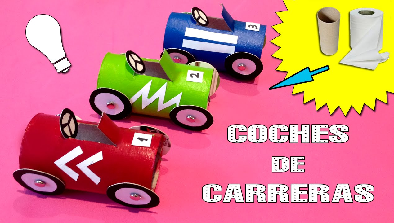 Coches De Carreras De Carton Reciclaje Con Tubos De Papel Youtube