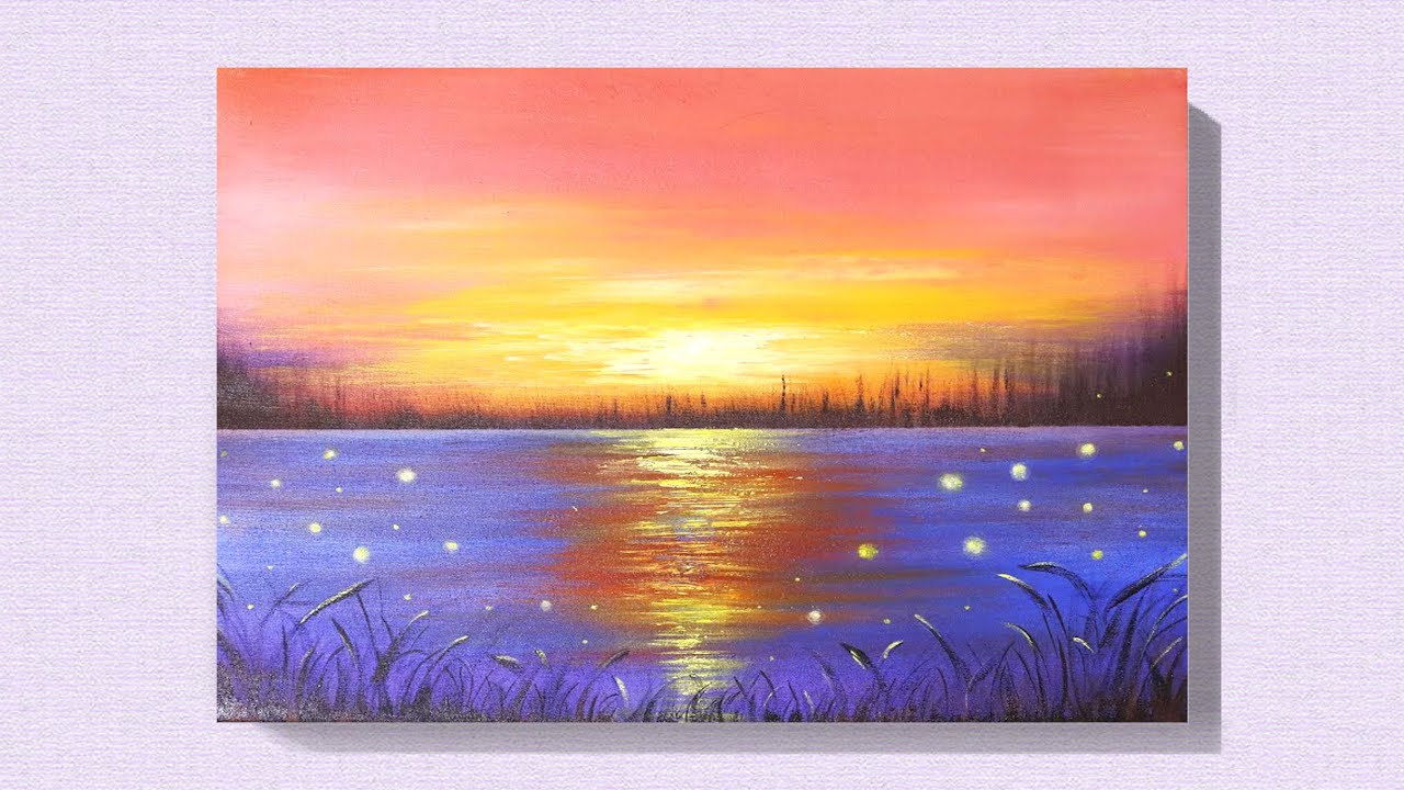 EASY SUNSET ACRYLIC PAINTING TUTORIAL FOR BEGINNERS | EASY ...