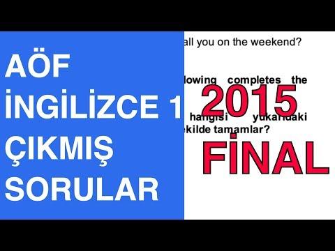 AÖF İngilizce 1 - 2014-2015 Güz Çıkmış Soru Çözümleri (Final)