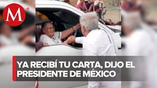 AMLO saluda a mamá de 'El Chapo' en Sinaloa