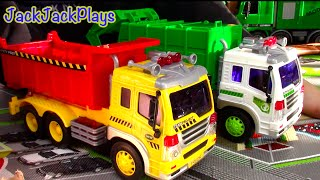 Garbage Truck + Dump Truck Toys for Children: Toy UNBOXING Playing JackJackPlays