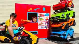 Ali Rides on Cars and Plays with Adriana selling kids toys power wheels