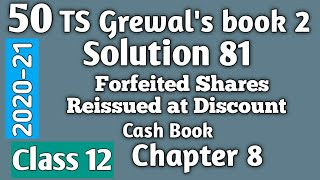 50. Forfeited Shares Reissued at Discount: TS Grewal's Solution 81 Class 12 Accountancy 2020-21