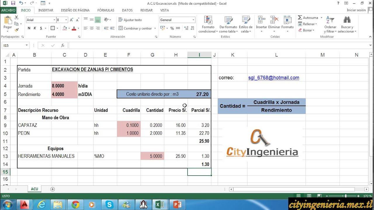 An lisis de costo unitario en excel excavaci n de zanjas for Presupuesto para una pileta de material