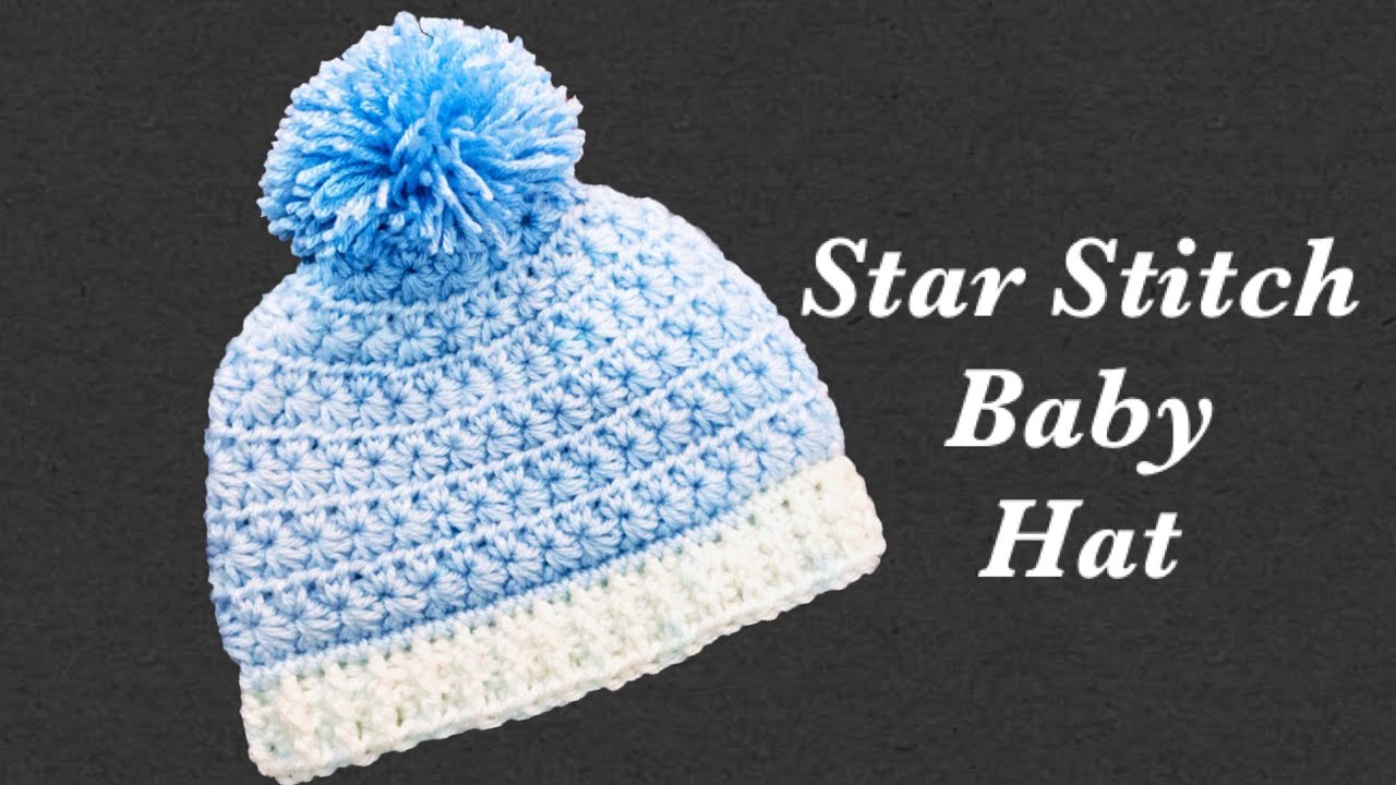 How to crochet newborn baby crochet beanie hat with star stitch fast and easy  Crochet for Baby  166 9fe6198f7fa