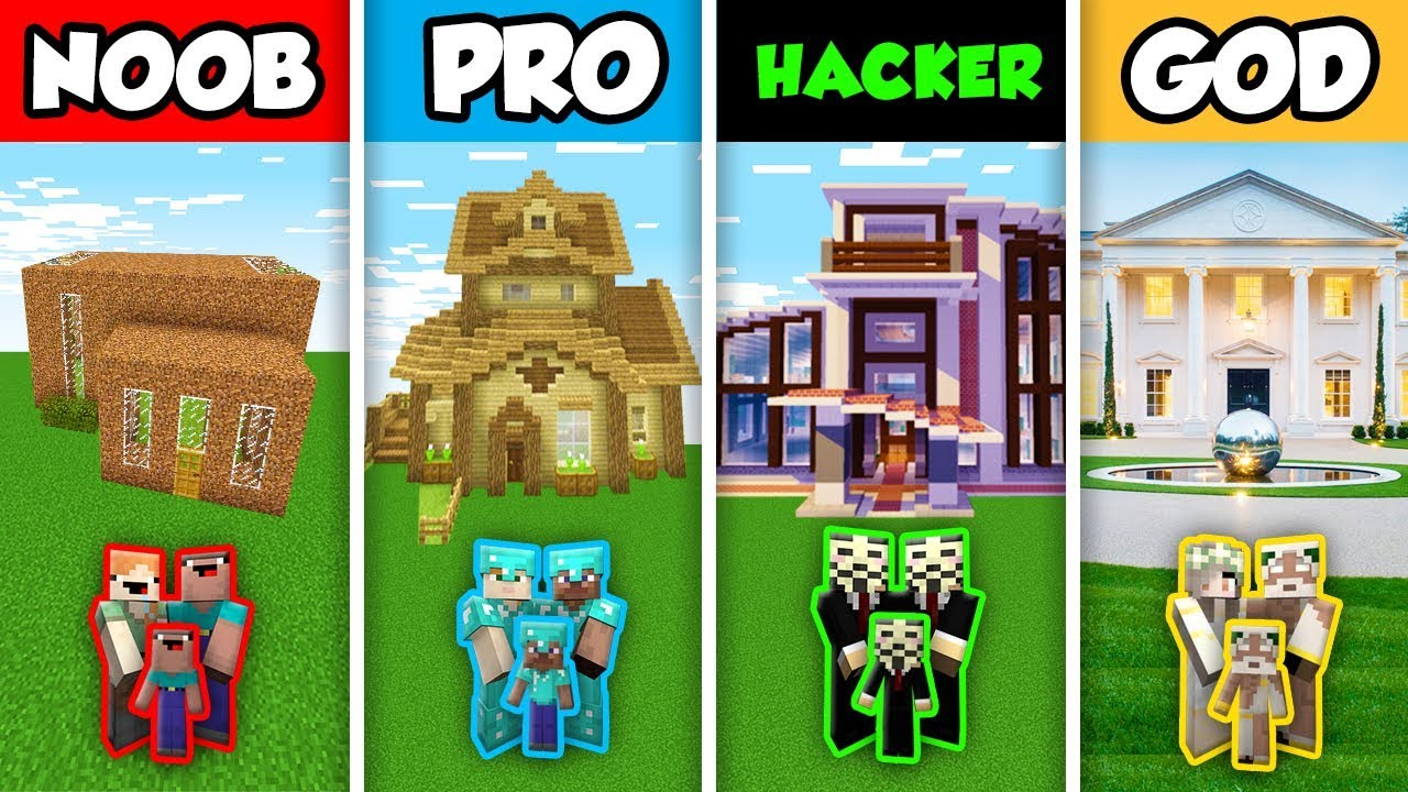 Download Minecraft NOOB vs. PRO vs. HACKER vs GOD : FAMILY ELEGANT HOUSE BUILD CHALLENGE in Minecraft!