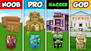 Minecraft NOOB vs. PRO vs. HACKER vs GOD : FAMILY ELEGANT HOUSE BUILD CHALLENGE in Minecraft!