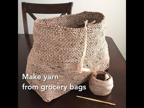 Making Plarn Plastic Yarn from Grocery Bags to Crochet into Totes and Bags Recycle Upcycle by GemFOX