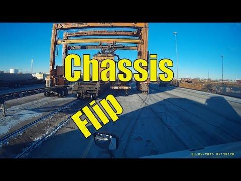 Flipping A Chassis At BNSF Cicero Intermodal Rail Yard