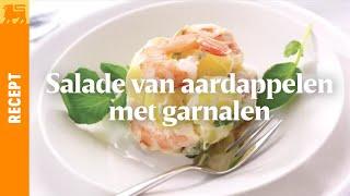 Salade van aardappelen met garnalen