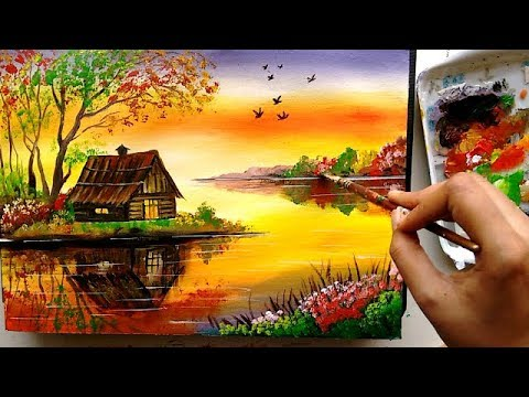 Beautiful Riverside Scenery Painting Acrylic Tutorial