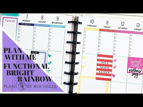 Plan with Me: Functional Bright Rainbow   Plans by Rochelle