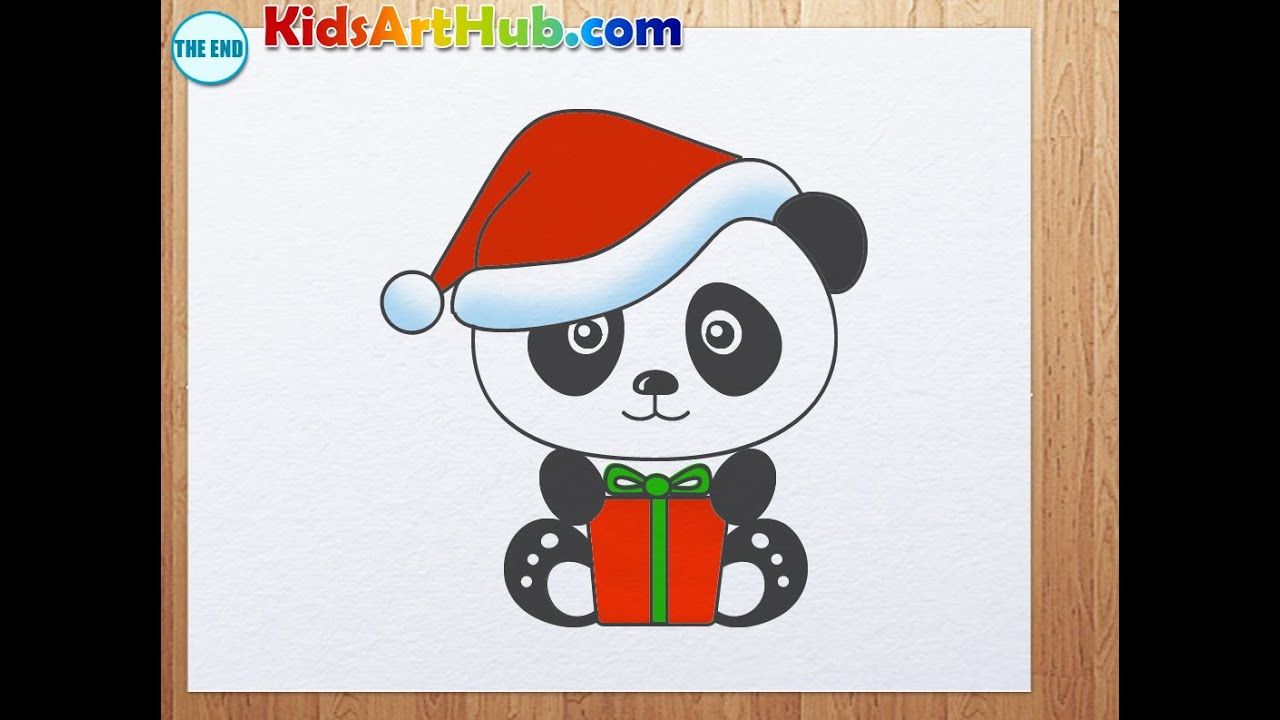 How to draw panda with christmas hat and gift youtube negle Gallery