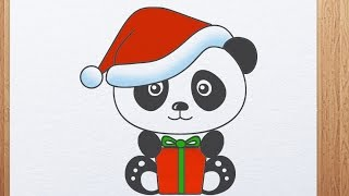 How to draw Panda with Christmas hat and gift