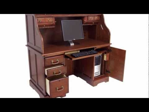 Oak Or Cherry Roll Top Computer Desk Youtube