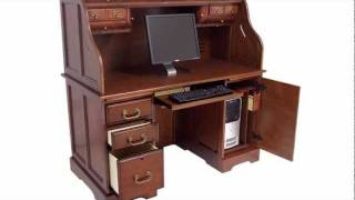 Oak Or Cherry Roll Top Computer Desk