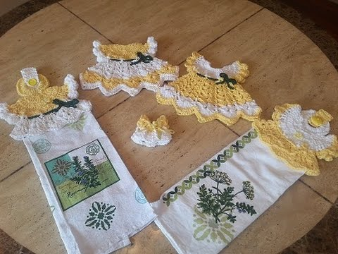 Crochet Sunshine Cottage Vintage Dress Towel Topper Set