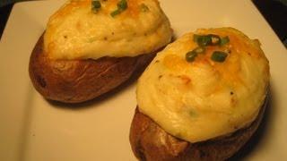 Double Baked Stuffed Potatoes - How To Make Double Baked Potatoes Recipe