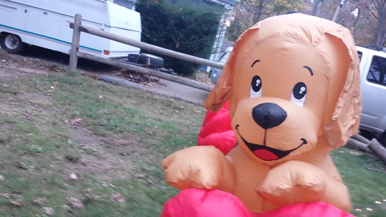 Valentines Day Inflatable Dog With Heart