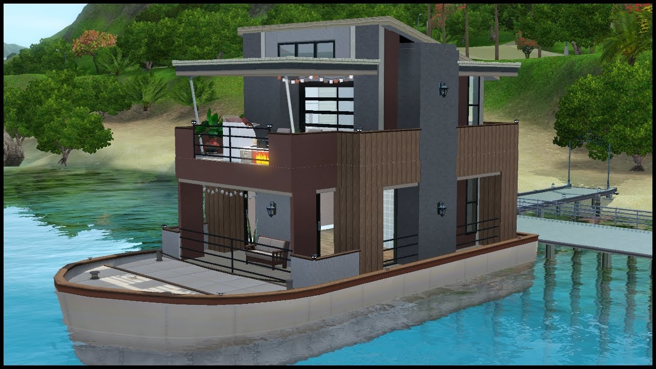The sims 3 house building serenity houseboat youtube for Boat house plans pictures