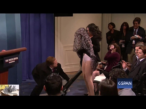 Thumbnail: SNL Skit Melissa McCarthy Sean Spicer Press Conference Blowing Up Dress Reporter Attack