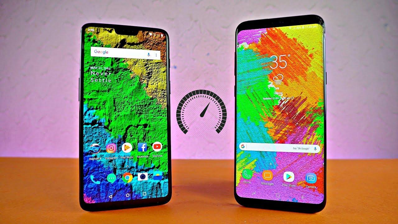 Oneplus 6 Vs Samsung Galaxy S8 Plus Speed Test Youtube