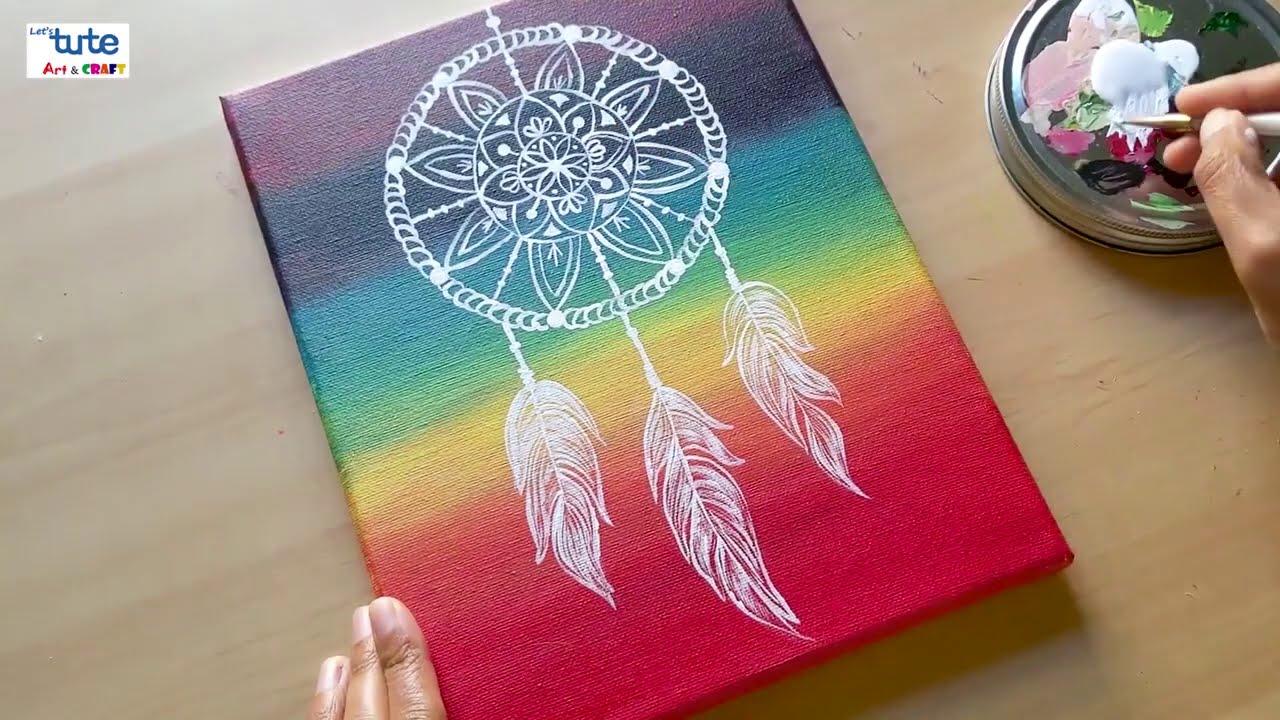 स वप न त ल क चर च त रकल Dream Catcher Painting Easy Acrylic Painting On Canvas Letstute In Marathi Youtube
