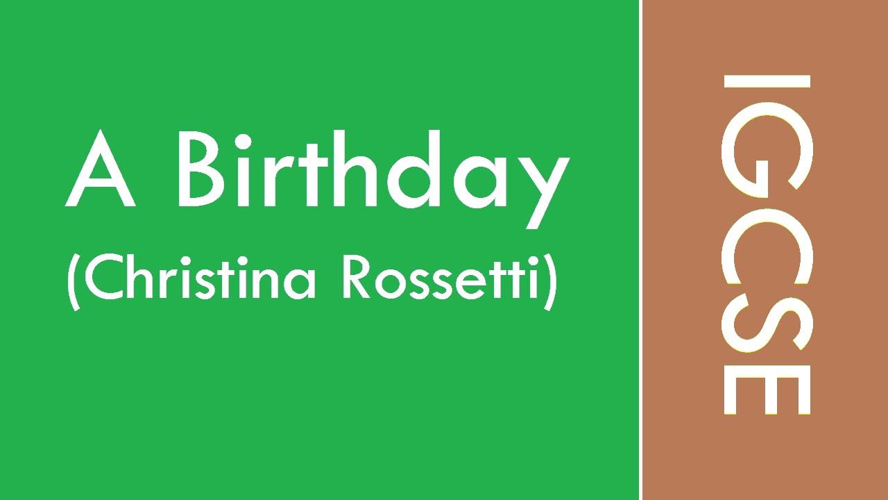 a birthday christina rossetti analysis