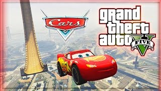 One of iCrazyTeddy's most viewed videos: Lightning McQueen vs VERTICAL RAMP! (GTA 5 Mods Funny Moments) - Disney Cars in GTA 5