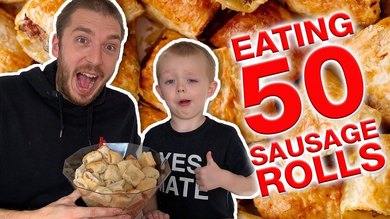 Eating 50 SAUSAGE ROLLS Challenge 😂😋