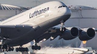 LUFTHANSA AIRBUS 380 At Düsseldorf ?? Heavy Evening Arrivals - A380, B777, A340 ...