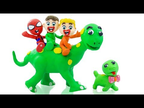 SUPERHERO BABY JURASSIC WORLD DINOSAUR 💖 Animation Cartoons Play Doh