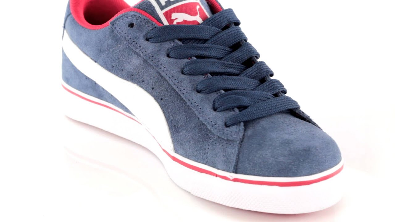 d7898e416b6af9 Tenisky Puma Puma S Vulc Jr dark denim white red 13 - YouTube