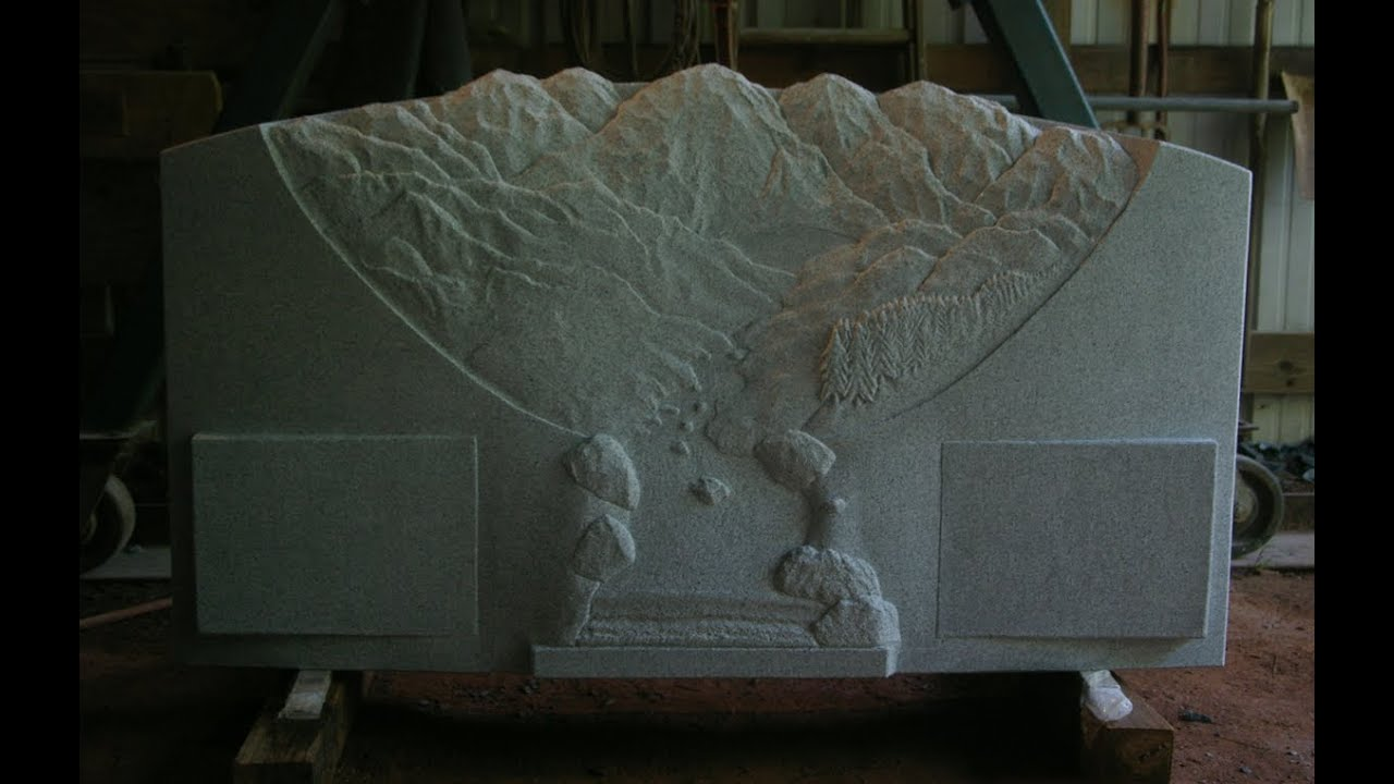 Bas relief landscape hand carved memorial ac button ii