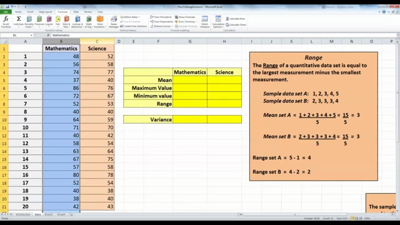 Calculate Data Range And Sample Variance In Excel 2010   YouTube