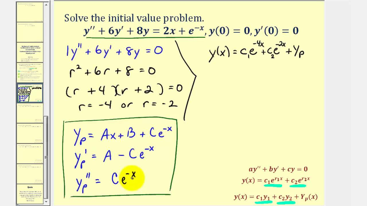 Initial Value Problem Using Method Of Undetermined Coefficients Maxresdefault Watch?vsoPqUH