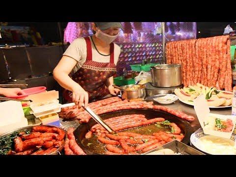 Street Food in Taiwan - MASSIVE Sausage BBQ at Tainan Night Market | BEST Taiwanese Street Food