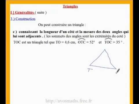 5eme cours de maths sur la construction d'un triangle ...