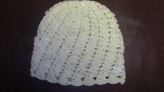 Вязание женской шапки с выпуклыми и косыми столбиками Часть 3 из 9