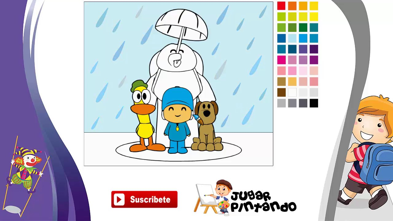 pocoyo en la lluvia juego de colorear online gratis para ni os youtube. Black Bedroom Furniture Sets. Home Design Ideas