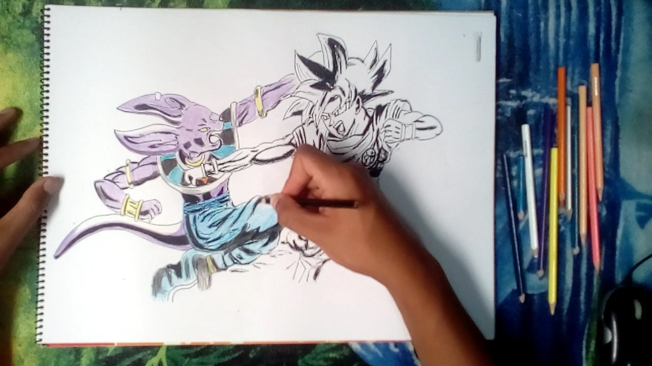 Dibijando A Bills Y Goku Ssj Dios Rojo- Dibujos Con Lápiz