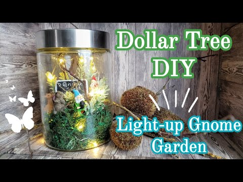 Dollar Tree DIY || Light-up Gnome Garden