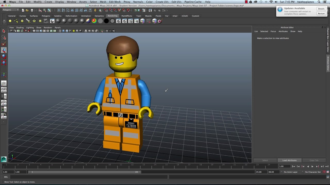 Painting Textures For A Lego Charcter  Maya And Sketchbook Pro