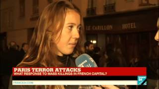 [Paris Attacks]  Ursula, a student from Connecticut living across Le Petit Cambodge reacts on FRANC