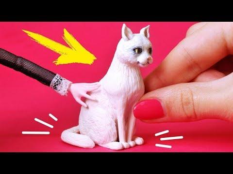 🌟 КОШКА для КУКОЛ 💖 Фигурка 5 СМ !!! 😍 Питомцы для кукол DIY из FIMO Мастер класс Анна Оськина