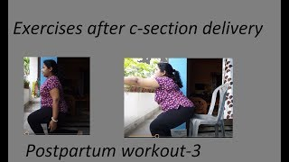 Exercises after c-section delivery || Postpartum workout-3