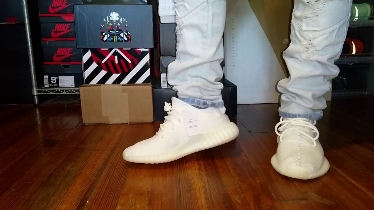 cream yeezys on feet ADIDAS YEEZY BOOST 350 V2 CREAM WHITE ON FOOT