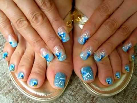 Diseños para uñas de los pies - YouTube