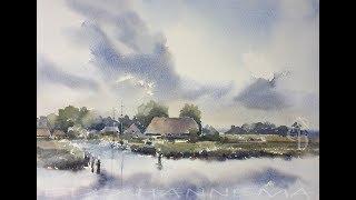 The Isle Tiengemeten in watercolour