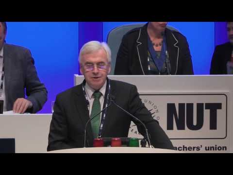 Shadow Chancellor of the Exchequer, John McDonnell at NUT Conference